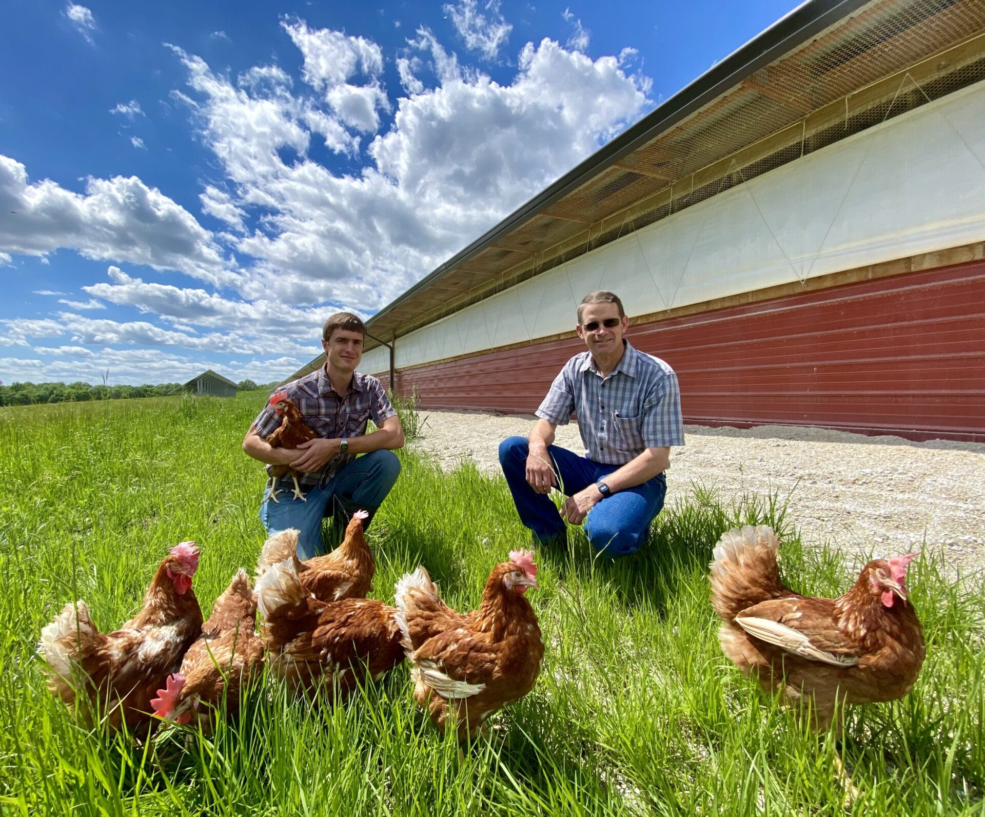 Farmers with chickens