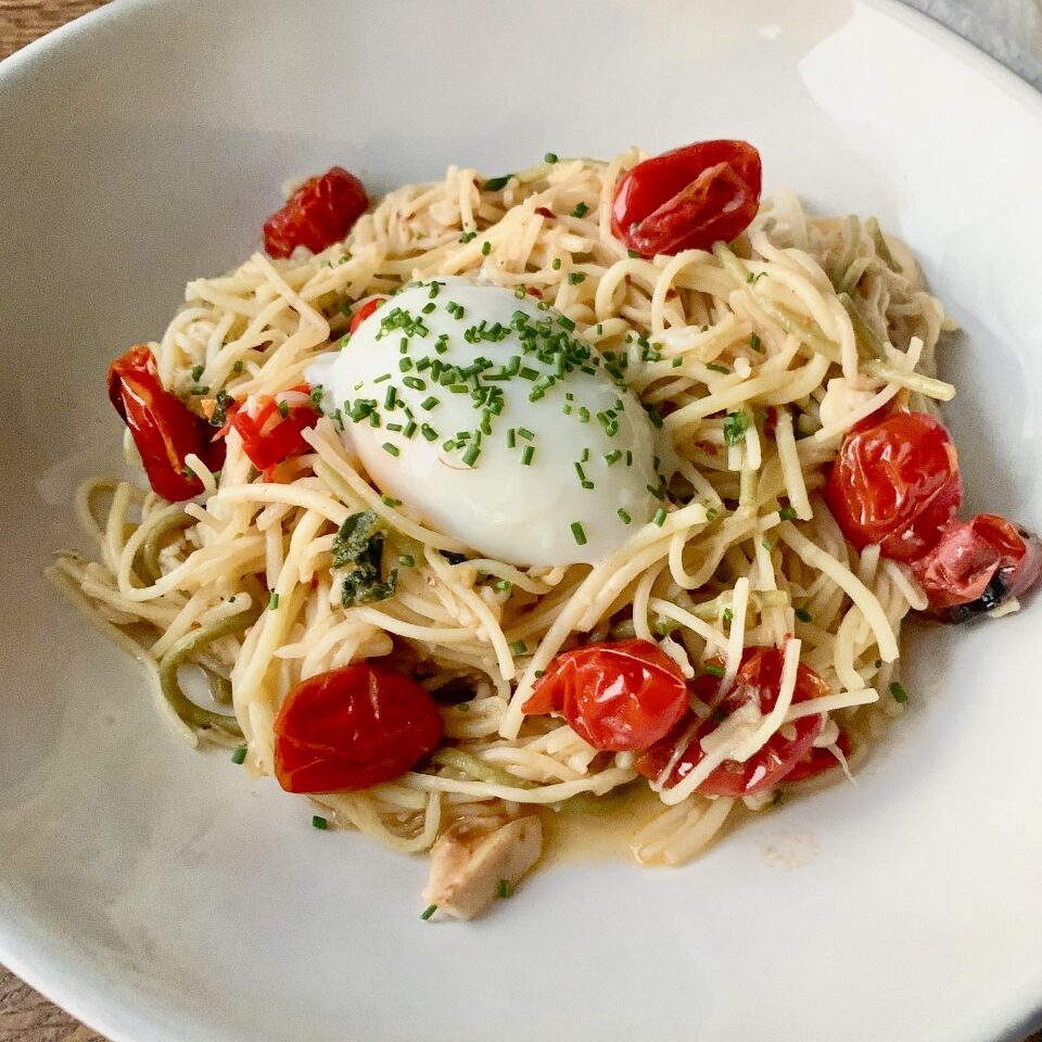 Cherry Tomato Parmesan Pasta with Sous Vide Eggs