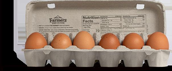 Farmers Hen House Free-Range eggs carton open