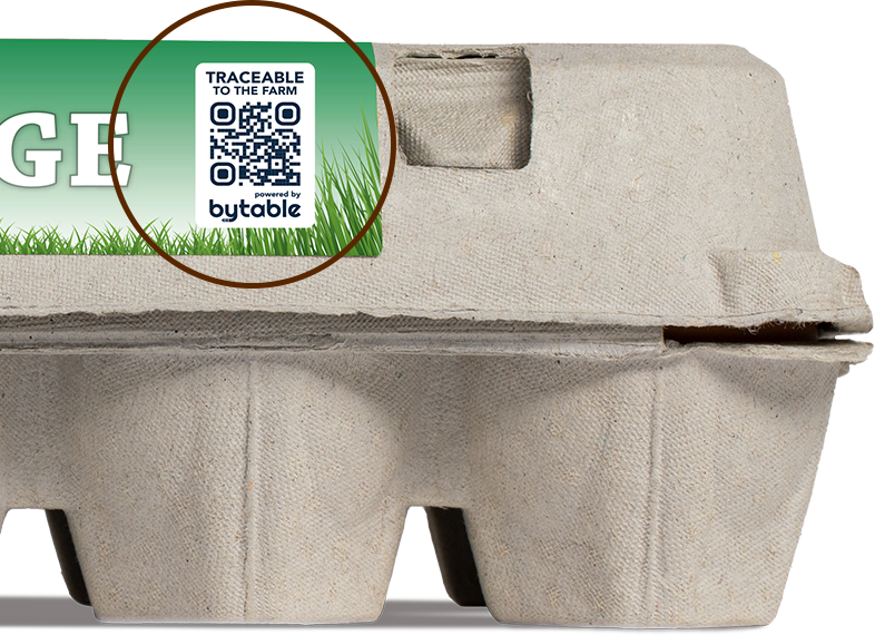 Farmers Hen House Free-Range Eggs with Bytable traceability code highlighted