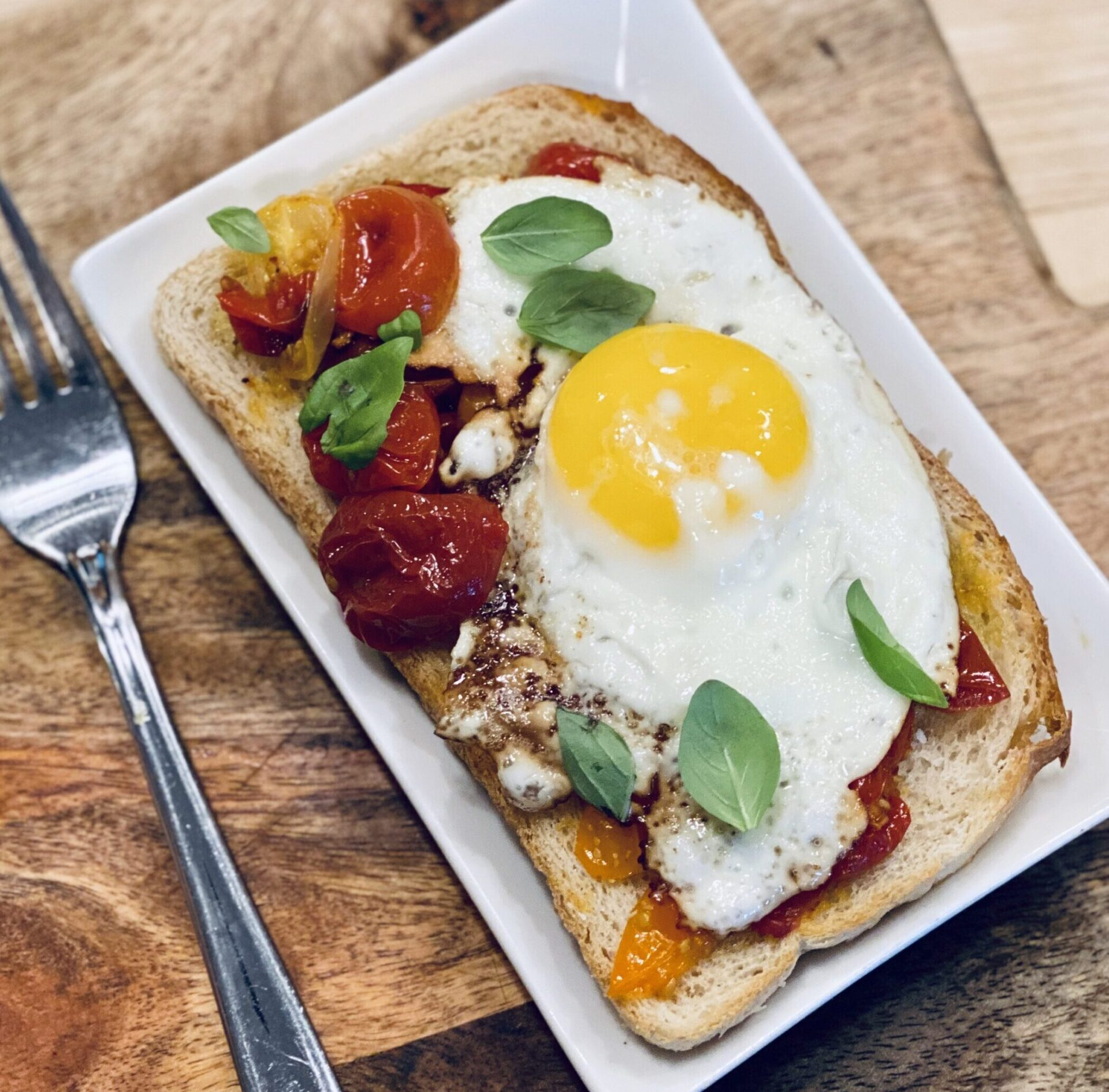 Roasted Garden Tomato Egg Toast