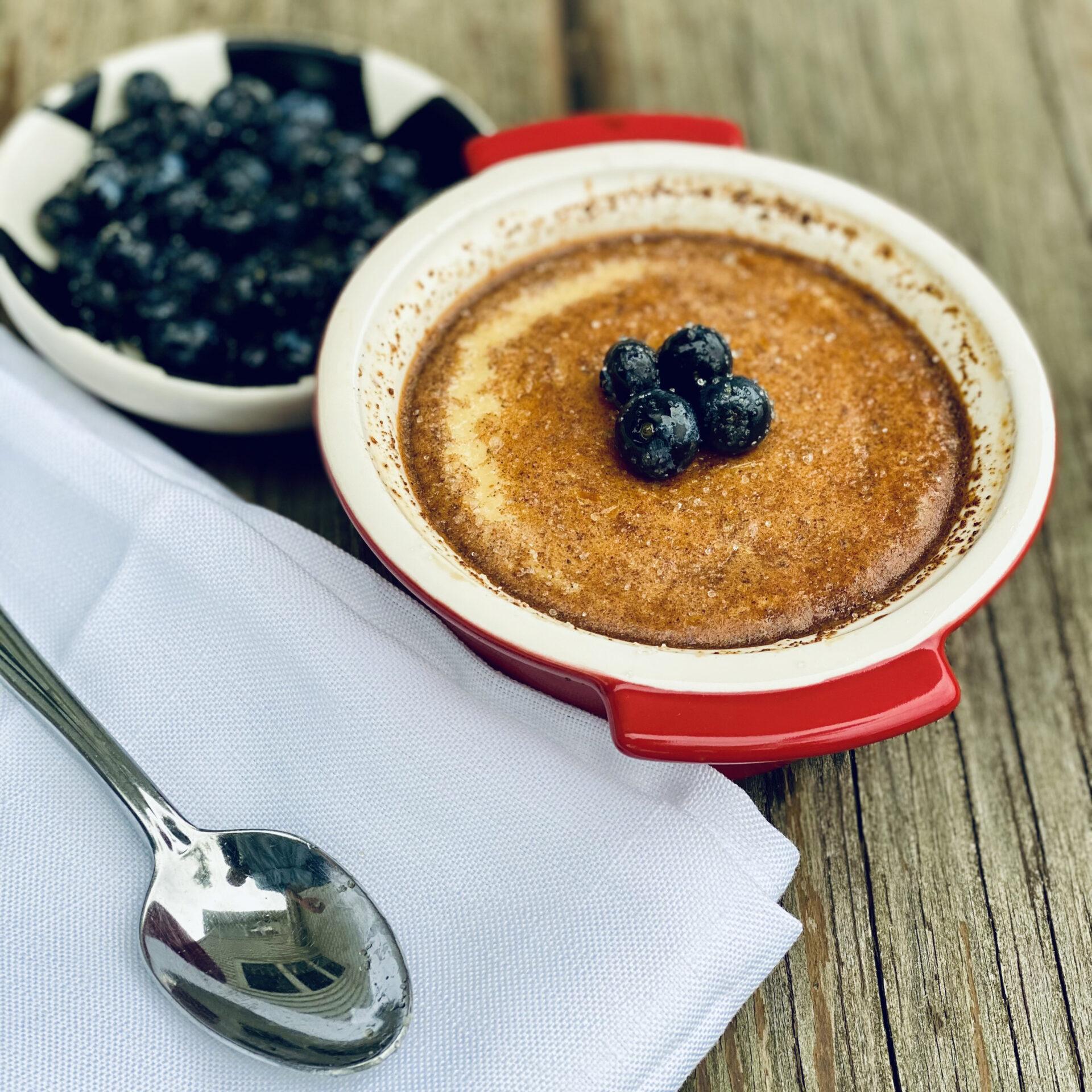 Honey Egg Custard With Fresh Blueberries