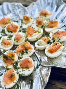 Pickled Deviled Eggs with Smoked Salmon