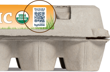 Free-range organic eggs with Bytable traceability code