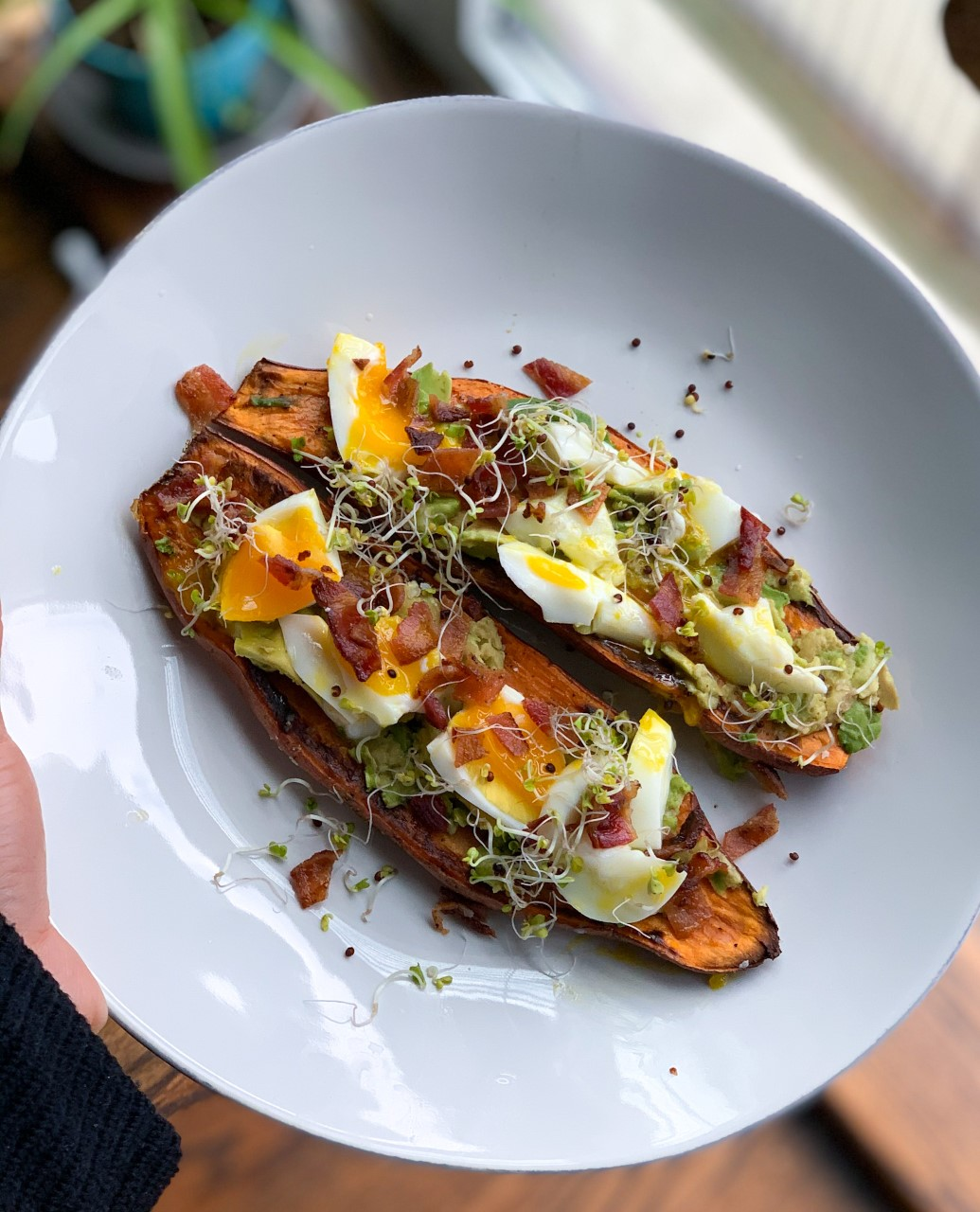 Sweet Potato Toast With Avocado & Eggs